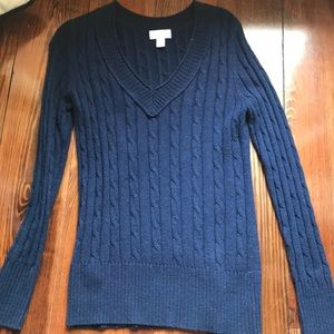 Navy Ann Taylor Loft Cable Knit Sweater